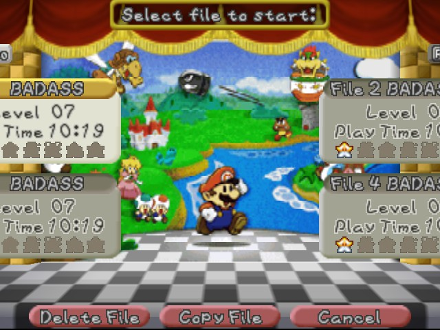 Paper Mario - Game Select  - Here we go! - User Screenshot